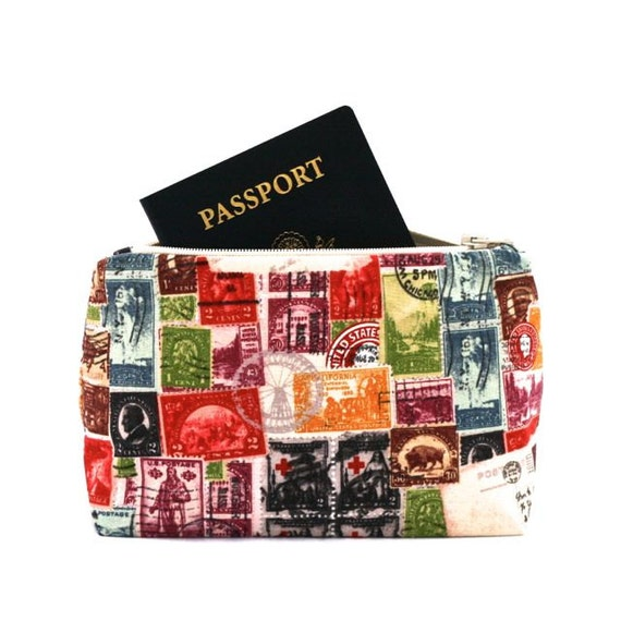 Wedding Gift Bag Stuffers : Vintage Stamps Travel Bag Stocking Stuffer - Makeup Bag, Cosmetic Bag ...