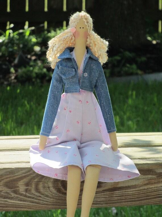 Fabric doll cloth doll in denim jacket child friendly blonde doll Tilda doll stuffed art doll blonde pale lilac pink gift for girl
