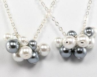 Pearl Cluster Bridesmaid Necklaces Custom in Your Wedding Colors