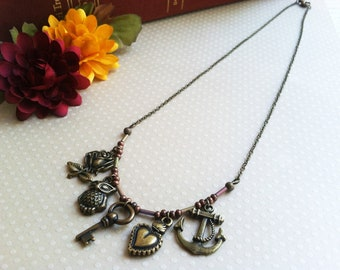 Charm necklace - rose, key, anchor, heart, and owl. Funky necklace, fun necklace, unique necklace, hipster necklace, antiqued bronze