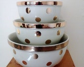 Vintage Hall Polka Dot Bowl Set Gold Label China with Original Box