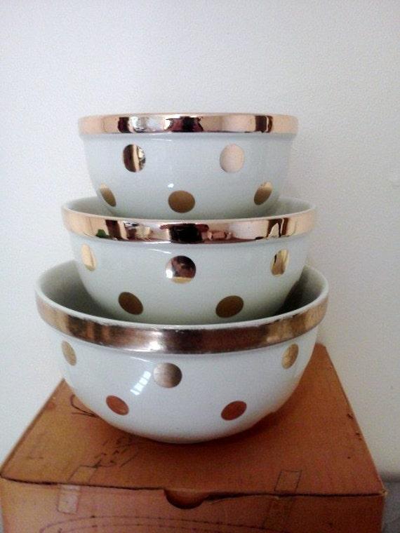 Vintage hall polka dot bowl set gold label china with original for Gold polka dot china