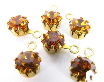 12 Vintage Swarovski Topaz 24ss 5mm Crystal Drops Charms Cr30