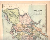 1907 LARGE Vintage antique ANCIENT GREECE Map Chart, Gracia Antiqua, Maps