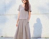 Loose Fitting Maxi Dress Sundress Short Sleeve Summer Dress in Grey - NC363