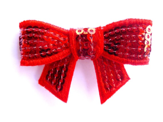 red sparkle hair bow clip--2 inch sequin bow baby bling toddler big girl mom too--