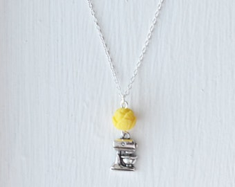Kitchen Aid Bakers Necklace- Baking Jewelry- 925 Sterling Silver- Yellow- Custom Resin Flower Rose