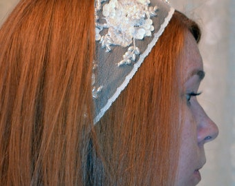 Wedding Bridal Headband/Sash Ivory Sequins and Crystals - Bridal Beaded Headband - Boho Wedding Hairpiece - Ready to Ship