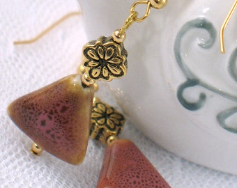 Pink and Honey Gold Speckled Ceramic Bead Earrings - Gold Flower Bead - Geometric - Gifts under 15