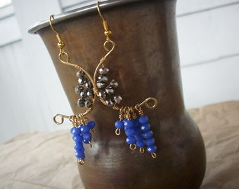 Raincloud Earrings -- Sky Blue & Silver Half Moon Earrings