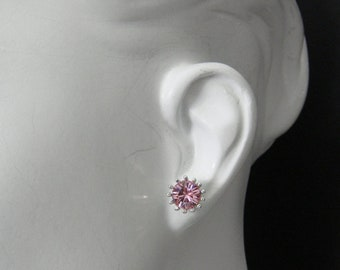 Stud Earring  Silver plated with Light Rose  Swarovski Crystal  3099SE