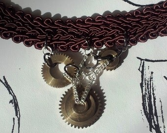 OOAK Vintage Up Cycled Gothic Style Choker with Steam Punk Brass Cogs and Chains Added