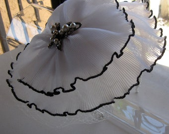 White Chiffon Flower Butterfly Pin Fascinator Hat with Veil and Pearl Headband, for weddings, parties, special occasions