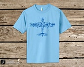 SALE LAST ONE -- Youth Fighter Plane Collage of Airplanes, Helicopters and Parts. Flight V1.0 Collage - Organic Cotton T Shirt