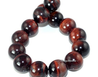 14MM Mahogany Red Tiger Eye Gemstone, Red, Round 14MM Loose Beads 7.5 inch Half Strand (90164673-18)