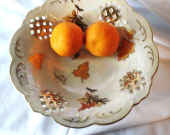 Trimont Lusterware Dish Autumn Leaf Pedestal Bowl JAPAN Hand Painted