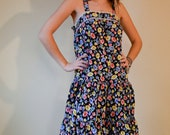 1970s MED black with primary color flower print sundress