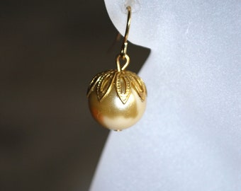 Pearl Earrings -- Gold Leaf, Gold, Olive, Metallic Moss Pearls