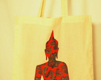 Paisley Buddha Appliqued Organic Tote Bag