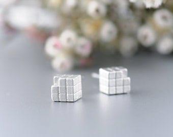 Rubik Cube Post Earrings in Silver. Silver Rubik Cube Earrings. Retro Earrings. 80s Jewelry. Geometric Earrings.