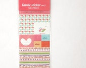 Cute Fabric Stickers, Sweet Fabric Sticker - Pastel color, Heart, Bow, Bird, Flower and more - 1 sheet