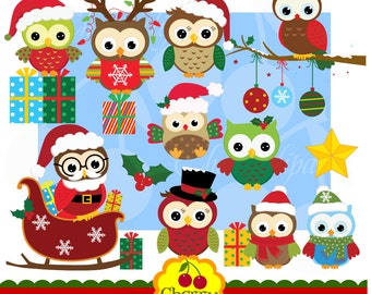 Christmas owls digital clipart set for-Personal and Commercial Use-paper crafts,card making,scrapbooking,web design
