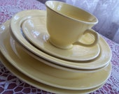 RESERVED for Susan Lu-Ray Tea Set Luncheon Plates Shabby Chic YELLOW Tea Cup Bowls Plates Lu-Ray 6 1953
