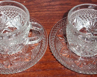 2 Sets CRIS d ARQUES Durand Glass ANTIQUE Cup and Saucer Sets 4 Pieces Heavy Cut Crystal France Excellent Condition