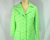 vintage 1970s neon floral jacket / size large