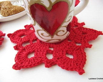 Crochet PATTERN Red Flower Coasters, Christmas Home Decor, DIY Christmas Crochet Gift, Instant Download PDF Pattern No.40 by Lyubava Crochet