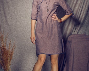 Linen Dress Linen Long Trench Coat Dress In Grey By