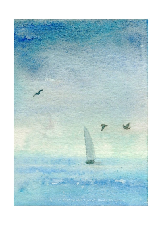 Original ACEO Watercolor seascape - Blue sea sailing