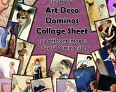 """Art Deco Vintage Digital Collage Sheet  - 2"""" x 1"""" domino size tags  x 28 - Great for scrapbooks, card making, tags Instant Download"""
