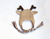 Crochet Reindeer Hat, All Sizes, Christmas, woodland, photo prop