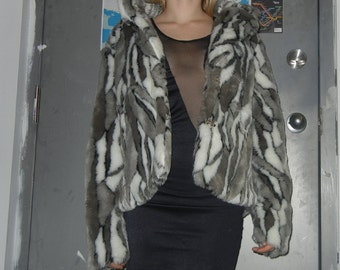 ON SALE - Faux fur grey and white animal print jacket