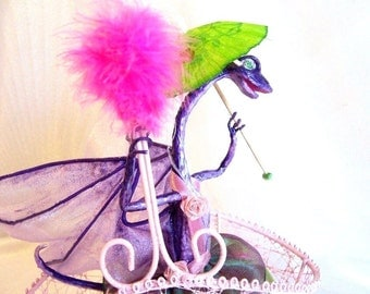 Dragon Art Doll Alexia in the Parasol Parade - Purple Dragon in a Pink Basket