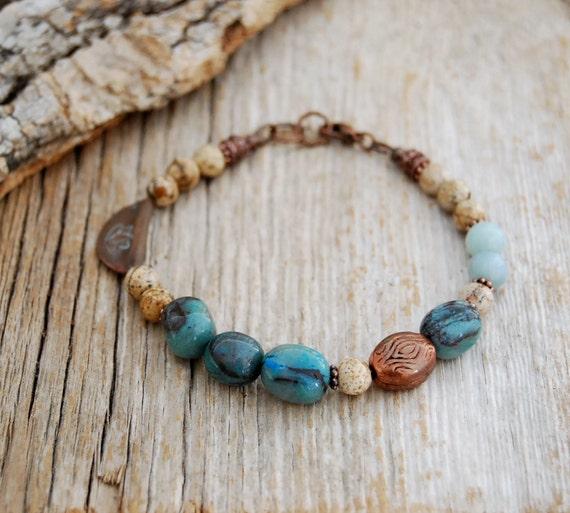 yoga jewelry - lotus bracelet - chrysocolla bracelet