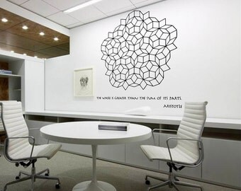 Science art - 5.5' wide Aristotle quote & Penrose tilling extra large wall decal for school and university classroom (ID: 121012)