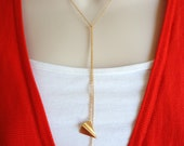 Gold Origami Crane and Paper Plane Lariat Necklace - Long  Origami Pendant Necklace