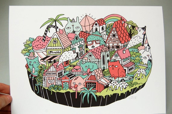 HAWAIIAN BAVARIAN ISLAND Illustration by danadamki - Giclee Print
