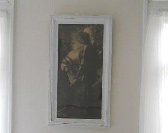 Antique Large Platinum Photographic Facsimile Sir Galahad George Frederick Watts 1862 Hollyer Original Frame