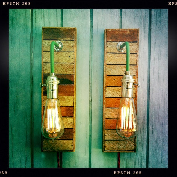Rustic Reclaimed Wood Edison Bulb Industrial Chandelier Lights: Items Similar To Pair Vintage Industrial Style Sconces