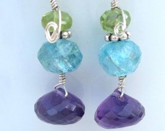 Amethyst, Apatite and Peridot Earrings