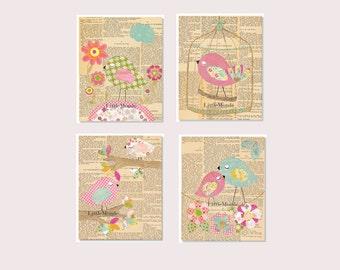 Baby Girl Nursery Prints, Nursery Art, French Nursery, Vintage Nursery Prints, SET OF 4 PRINTS, Birds, Owl, Shabby Chic, Little Monde