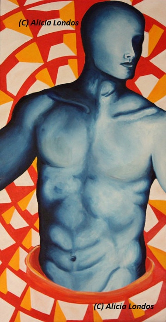 Painting - Blue man existing in geometric