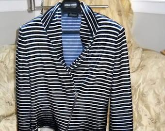 Giorgio Armani Navy & White Velour Womans Jacket 46/12