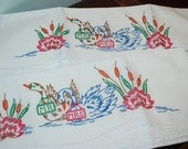 PILLOW CASES - Embroidered Swans Pillow Cases Hand Embroidered Hand Crocheted - Bed Linen - Mr. and Mrs. Swan