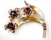 10K Gold Purple Amethyst Flower Brooch Vintage 1940s  Collectible Jewelry Pin Signed Harry Iskin Amethyst Purple