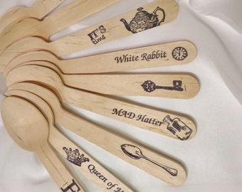 ALICE in WoNdErLanD Wood Spoons 30 HAND STAMPED Words Custom Favors , Ice Cream Spoons, Eco Friendly