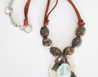 Green quartz stone necklace, brown leather with earthy poppy flat jasper stones and uneven faceted pale green quartz - large coin jewelry